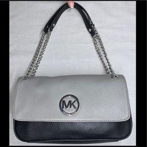 Michael Kors Fulton BlackGrey Leather Shoulder Bag